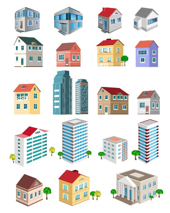 Four different styles of homes for Different building styles