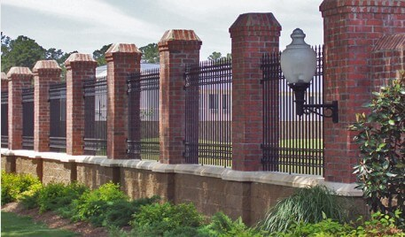 fence with brick pillars