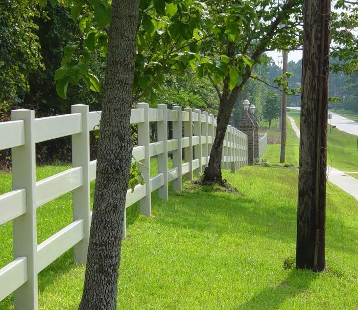 White fence next to trees